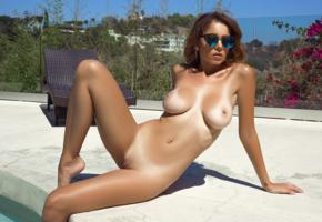 ali rose, playboy, pool, tan lines, boobs, big tits, nipples, shaved pussy, brunette, sunglasses, sexy