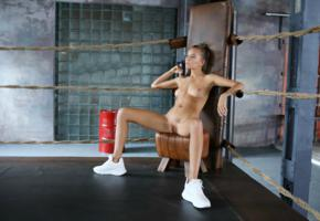 katya clover, clover, mango, caramel, mango a, brunette, boxing gym, naked, boobs, tits, nipples, shaved pussy, labia, spread legs, running shoes, hi-q