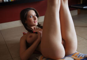 elina, brunette, blue eyes, pigtails, ass, pussy, labia, boobs, big tits