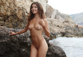 penelopea, brunette, small tits, nude, rocks, pussy, trimmed, tits, nipples, tanned, smile, sea, divina a, sati, tina