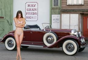 georgia, viva, susza k, brunette, car, cadillac, 1933, naked, boobs, tits, nipples, shaved pussy, labia, tanlines, smile, hi-q