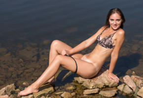 oxana chic, brunette, lingerie, bra, see through, panties, undressing, tanlines, lake, rocks, boobs, tits, nipples, smile, ultra hi-q