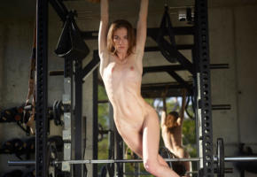 anya, nude, girl, tits, pussy, sexy, shaved pussy, fitness, skinny, tiny tits, nipples, gym, mirror, reflection