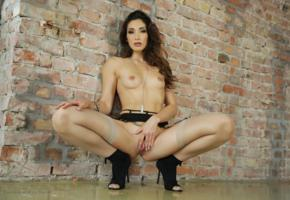 clea gaultier, brunette, french, pornstar, naked, slim, small tits, shaved pussy, spreading pussy, labia, spreading legs, squatting, black garter belt, tattoo, heels, stockings