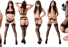 noemi, noemi moon, yarina, yarina a, istripper, strip, nude, ultrawide, tits, nipples, trimmed pussy, pussy, lingerie, black lingerie, stockings, black stockings, bra, black bra, panties, black panties, suspenders, collage