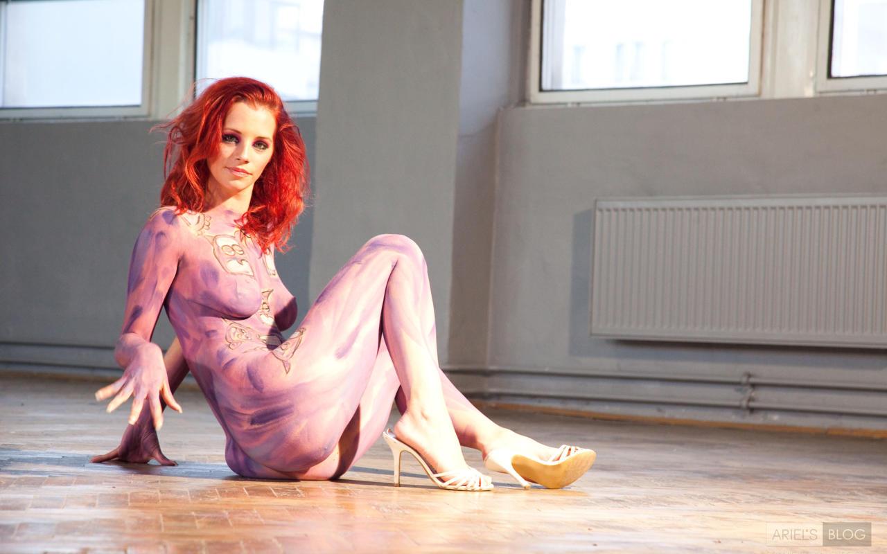 Download photo 1280x800, ariel, redhead, body paint ...