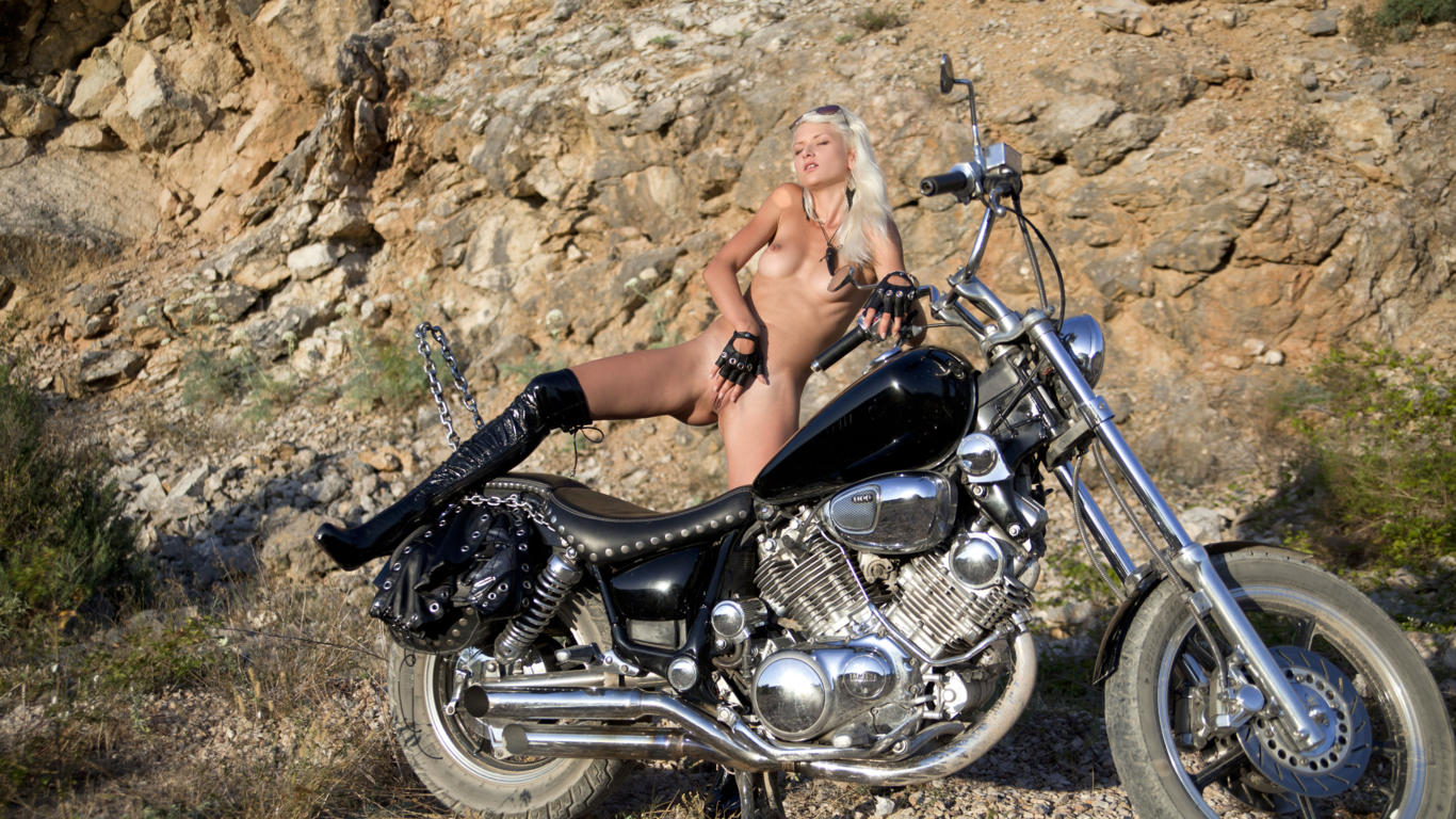 adelia b, sonia, vesna, nika a, blonde, naked, motorcycle, small tits, puffy nipples, shaved pussy, labia, ass, fingering, spread legs, boots, hi-q