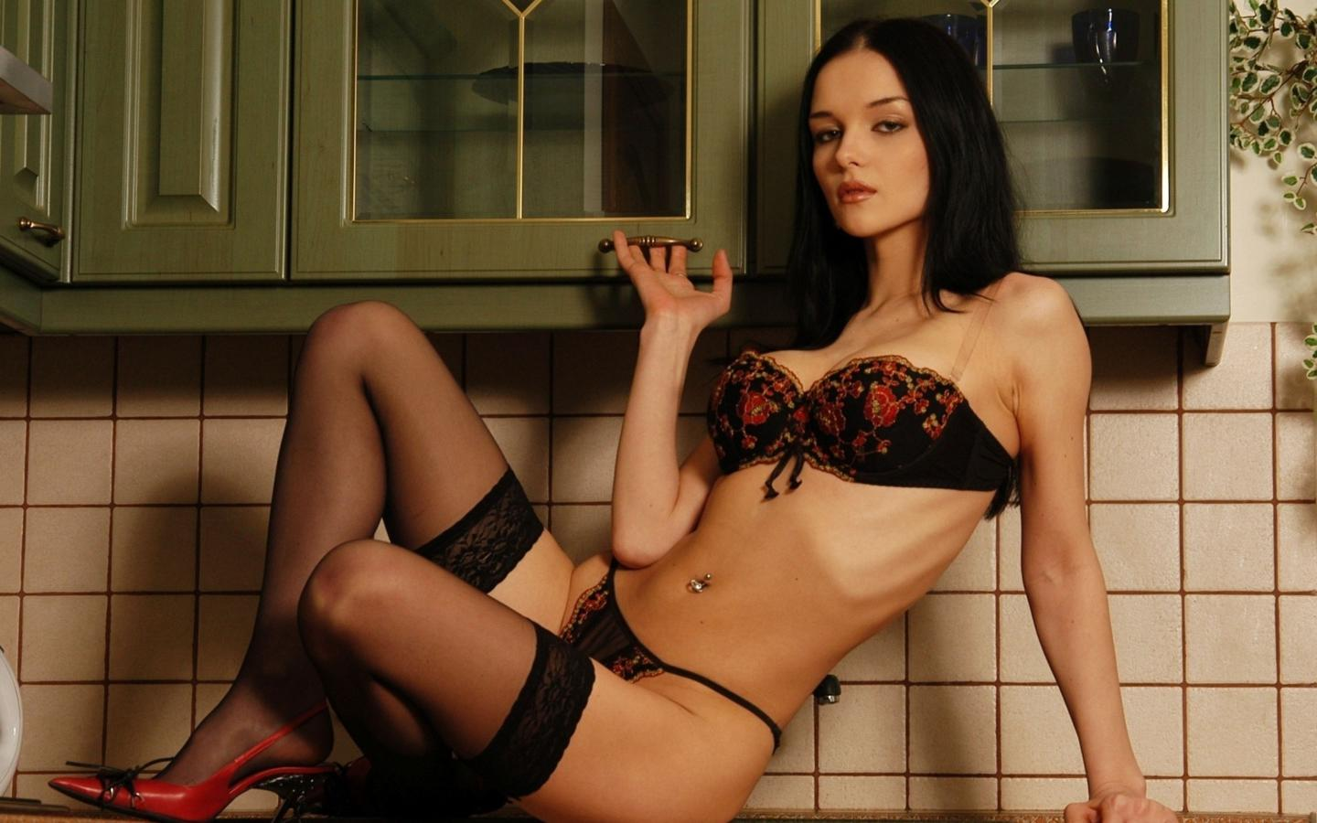 brunette, kitchen, lingerie, stockings, katie fey, eugenia diordiychuk, jenya d, heels, yevgeniya diordiychuk, playboy, playmate of the year, high heels, sexy, non nude
