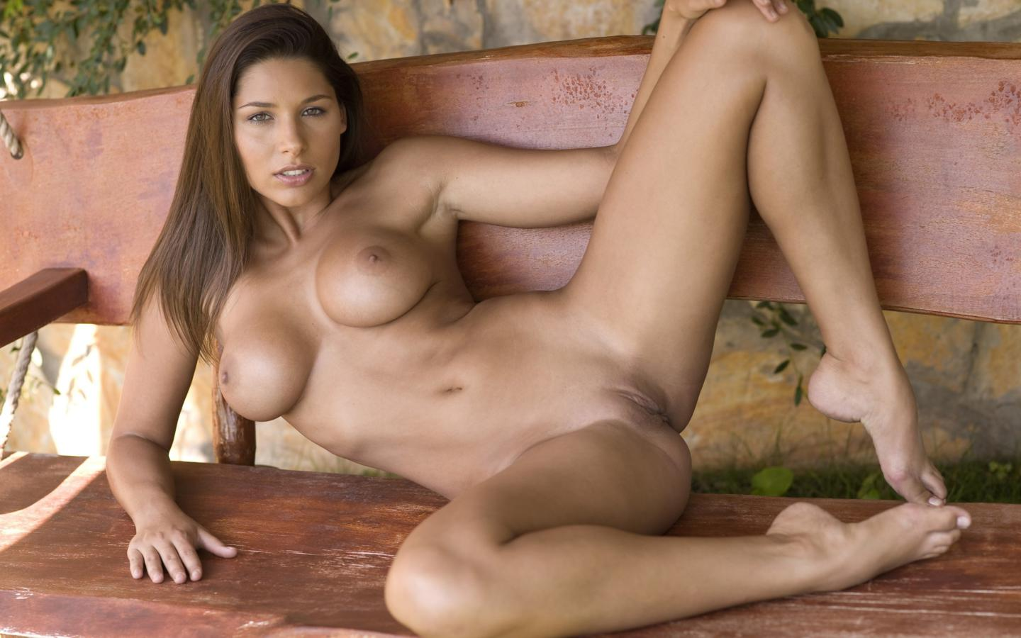 nude, pussy, brunette, spreading legs, bench, shaved, naked, hot, feet ...
