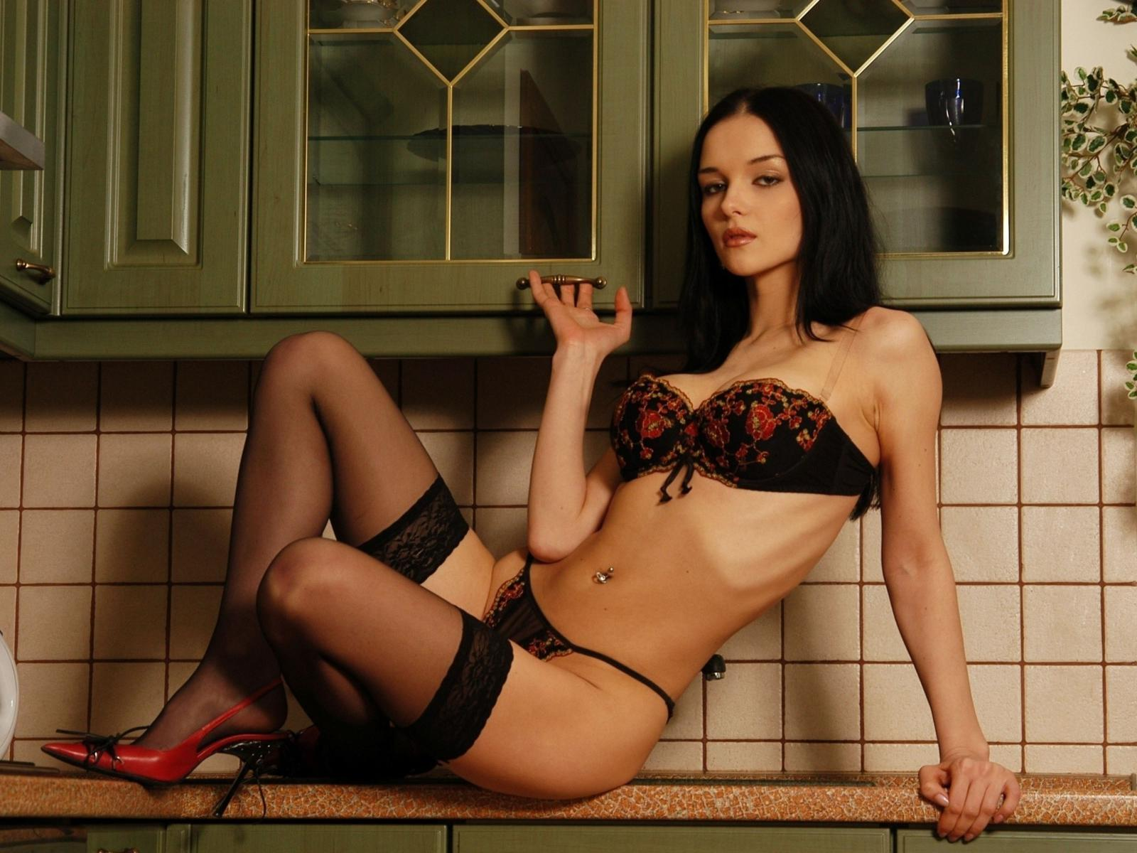 brunette, kitchen, lingerie, stockings, katie fey, eugenia diordiychuk, jenya d, heels, yevgeniya diordiychuk, playboy, playmate of the year, high heels, sexy