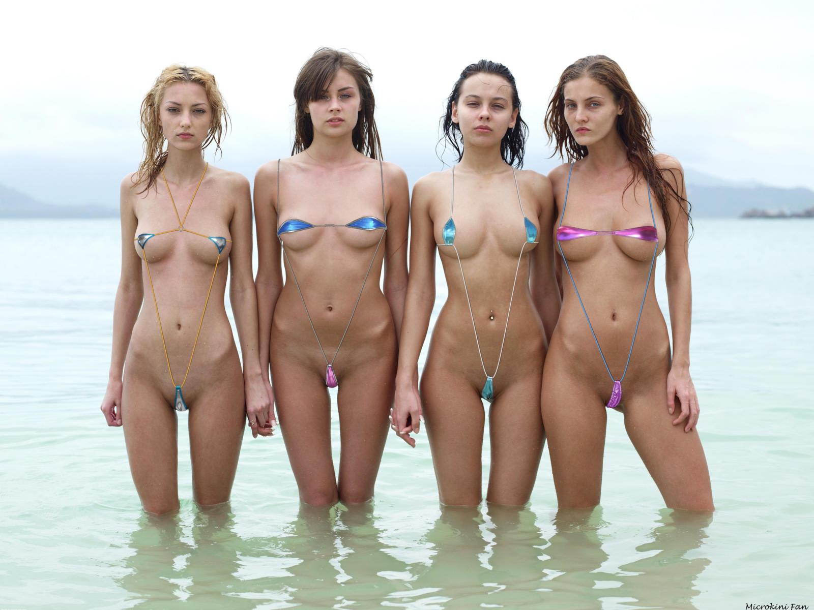 Download Photo 1600X1200, Microbikini, Group, Girls, Beach -6267