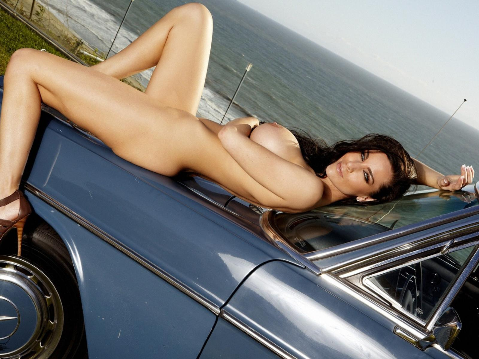 Women nude on cars