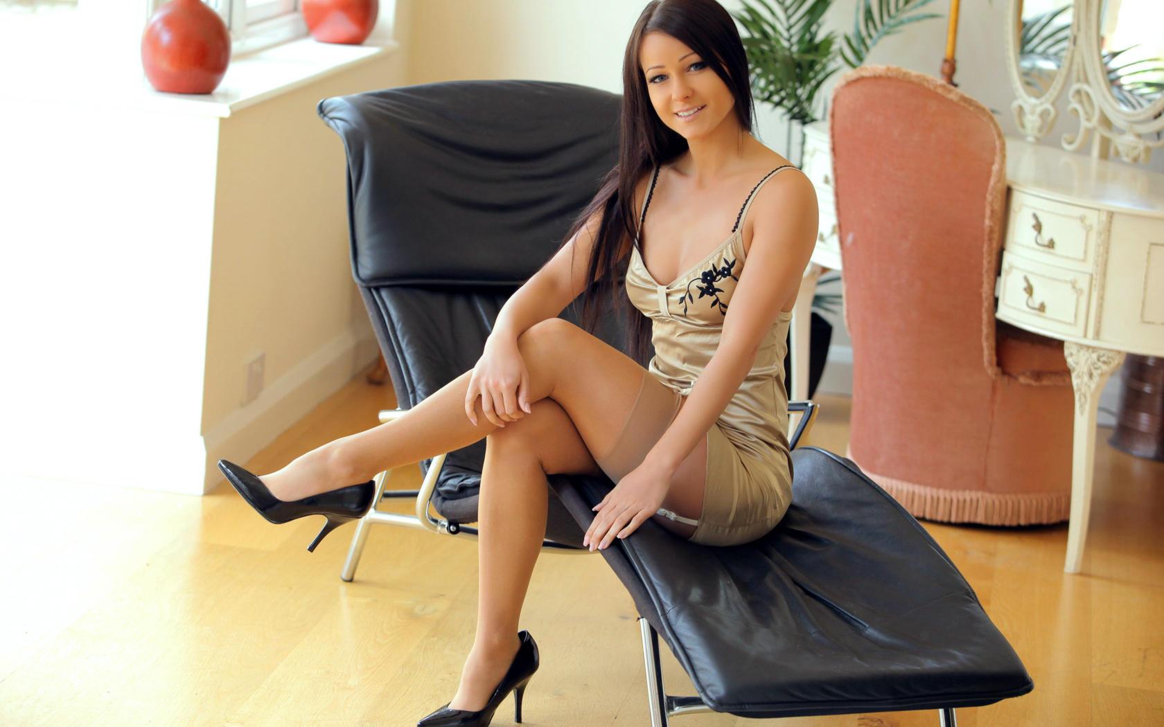 Girl in stockings in public cafe 1