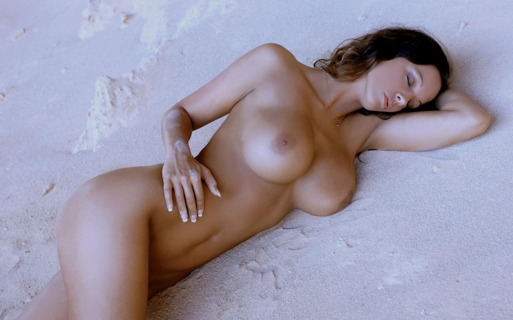 Nude Perfect skinny brunette