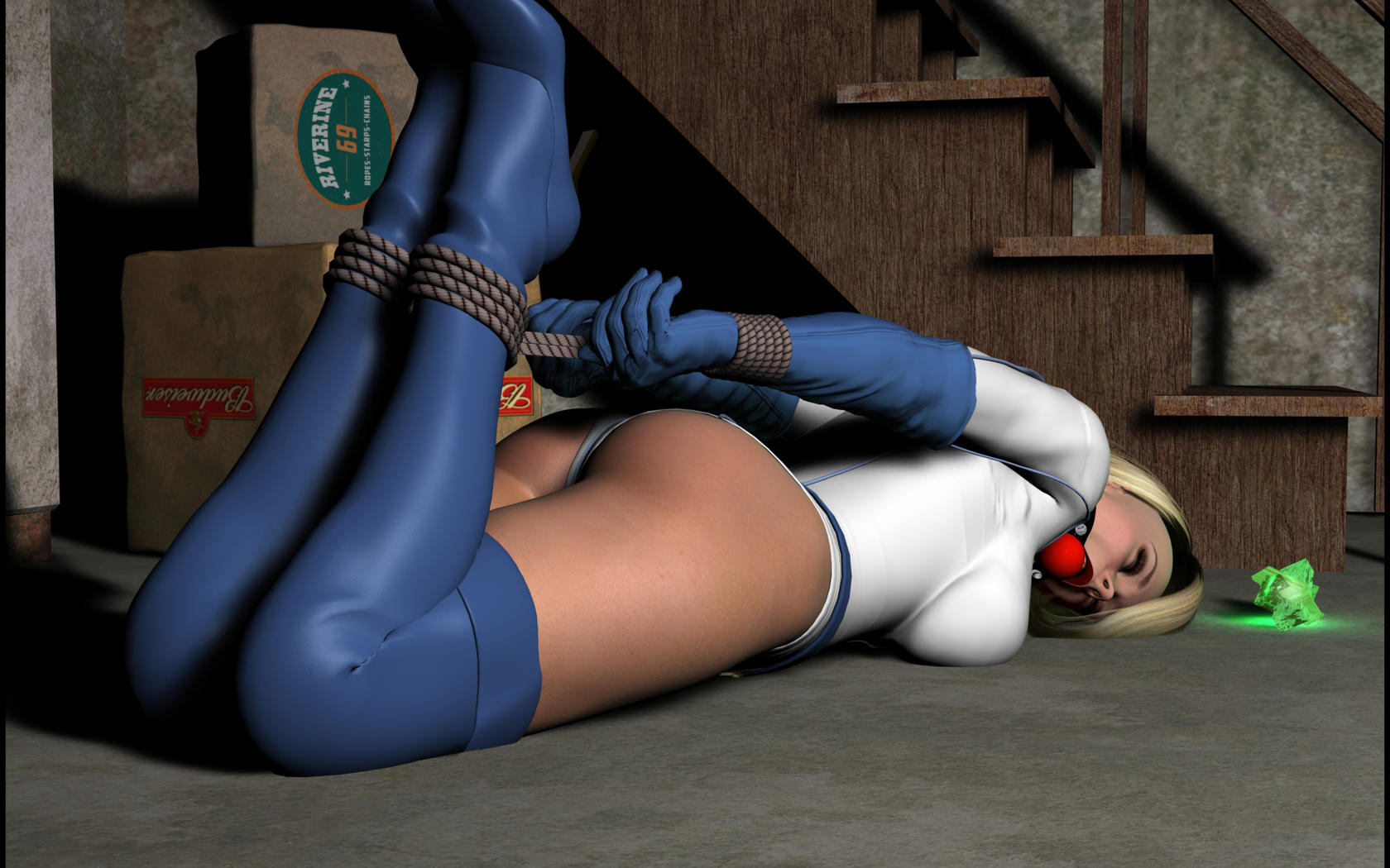 3d, tied up, boots, gloves, blonde, gagged, ballgag
