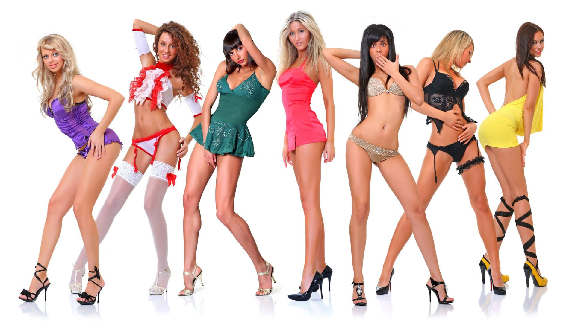 heels 7 babes posing sexy dressed lingerie hot legs high heels
