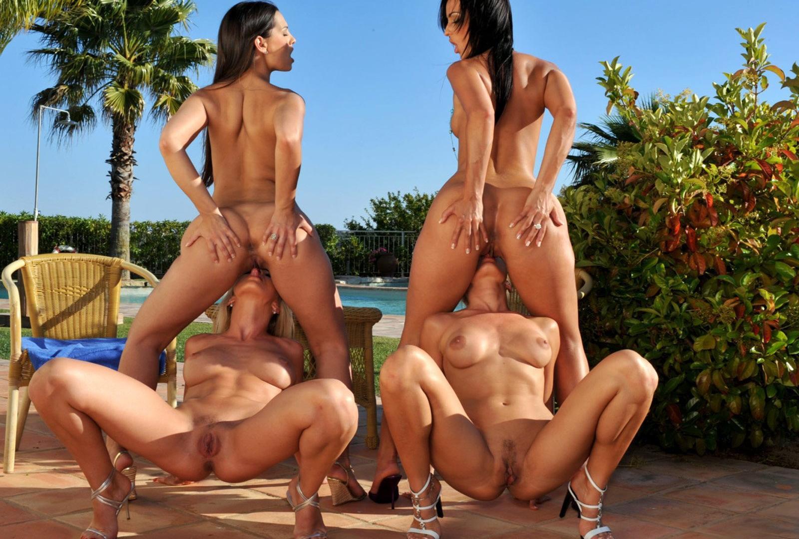 group lesbian ass licking