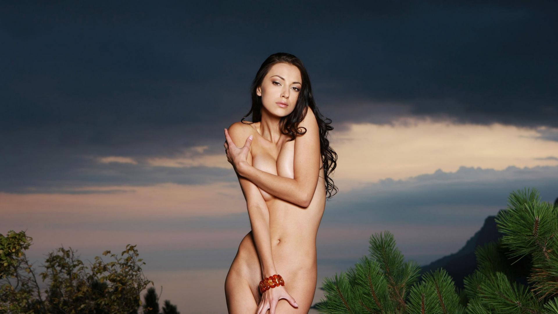 Download photo 1920x1080, anna aj, natural, brunette ...