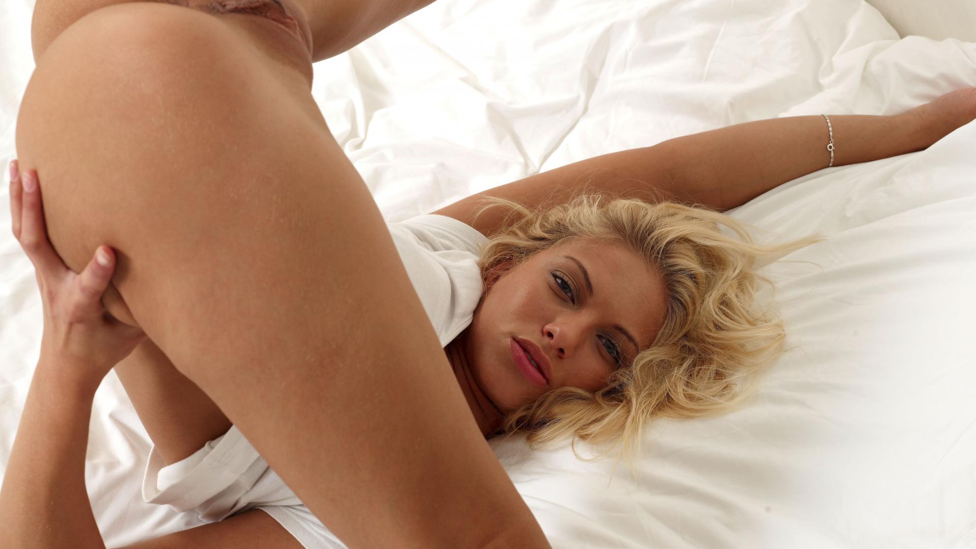 blonde german nude on bed