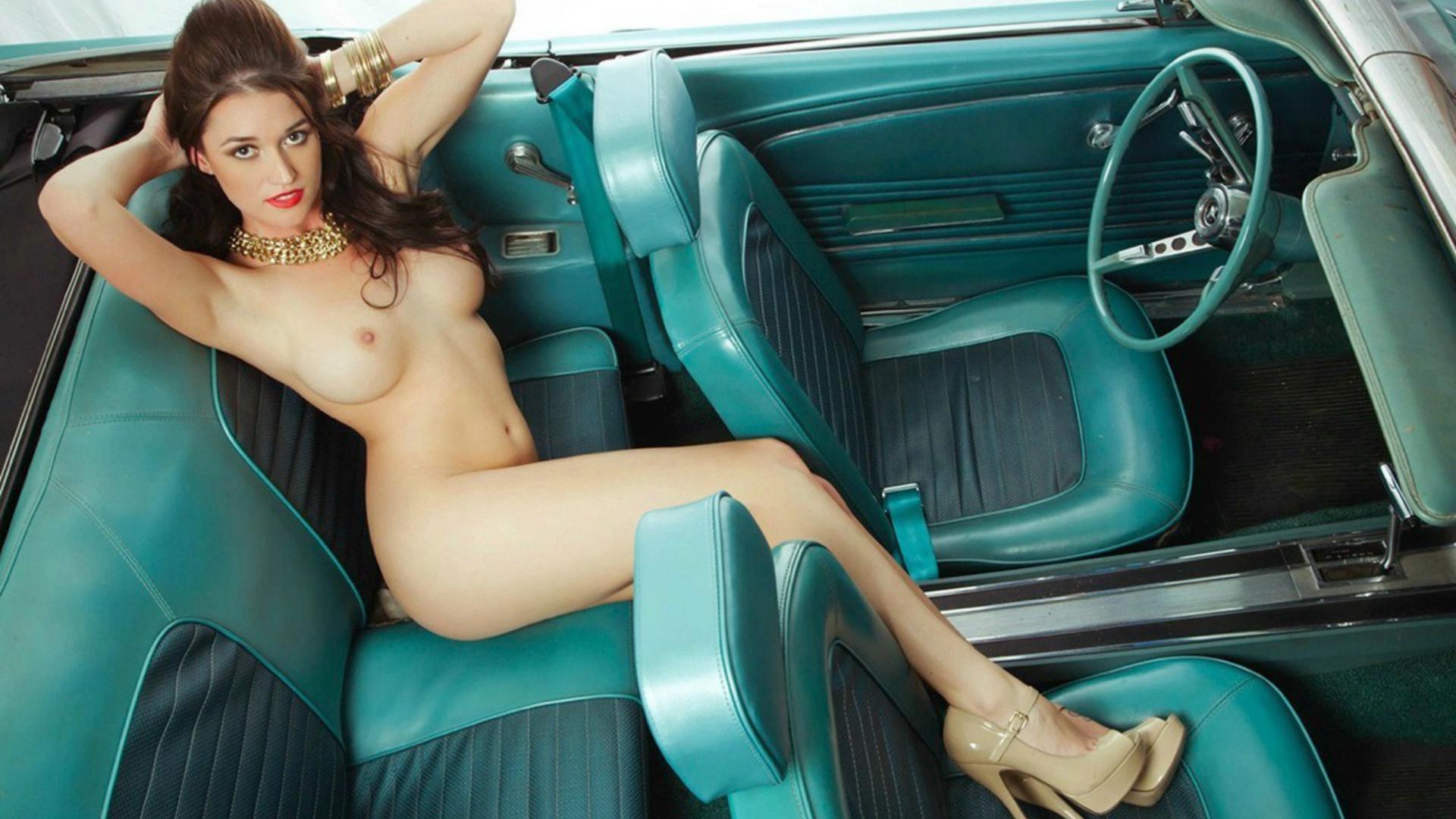 download photo 1920x1080, big tits, brunette, car, hard nipples