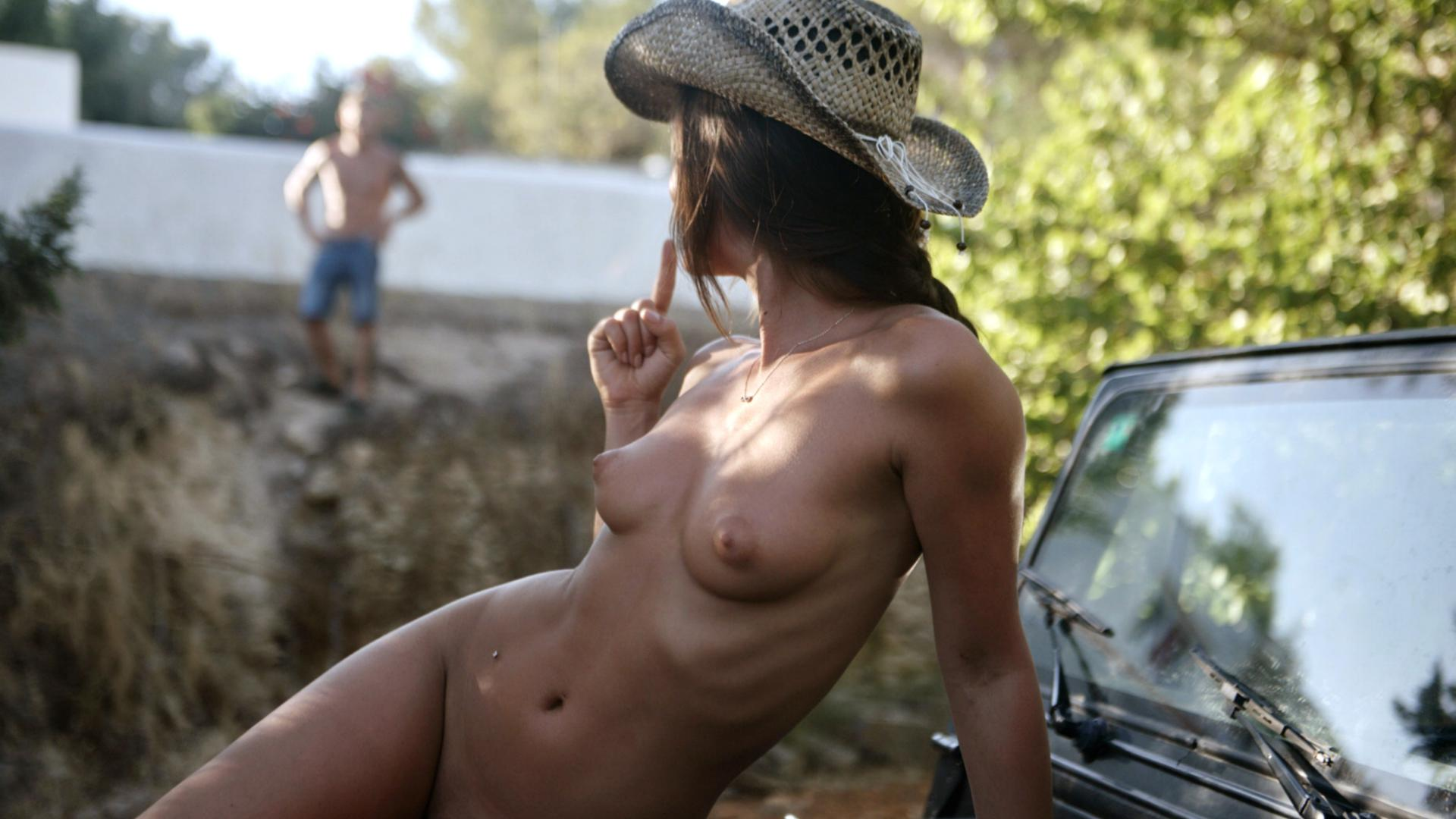 Sexy Naked Country Girl Wearing Cowboy Hat